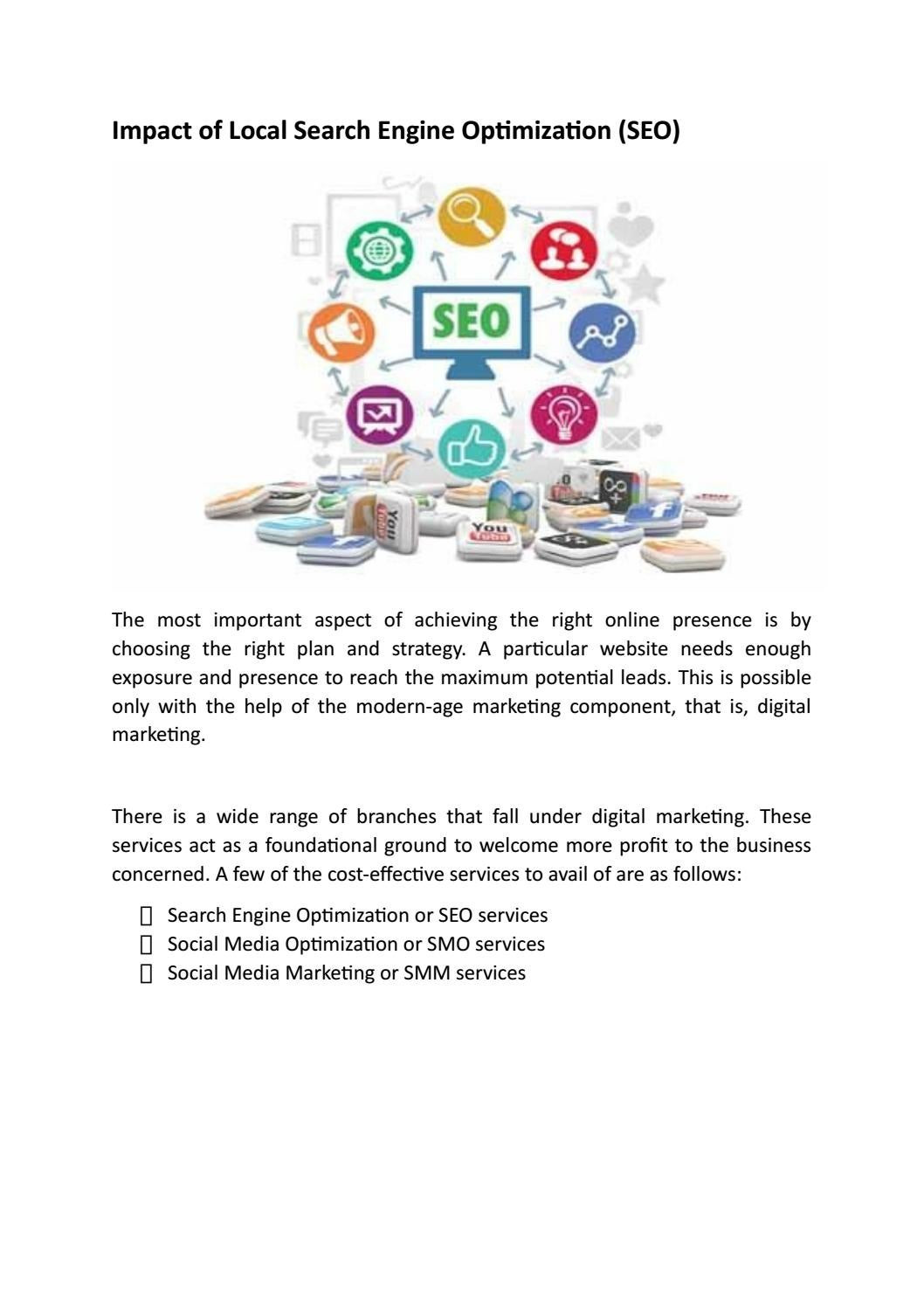 Impact of Local Search Engine Optimization (SEO)