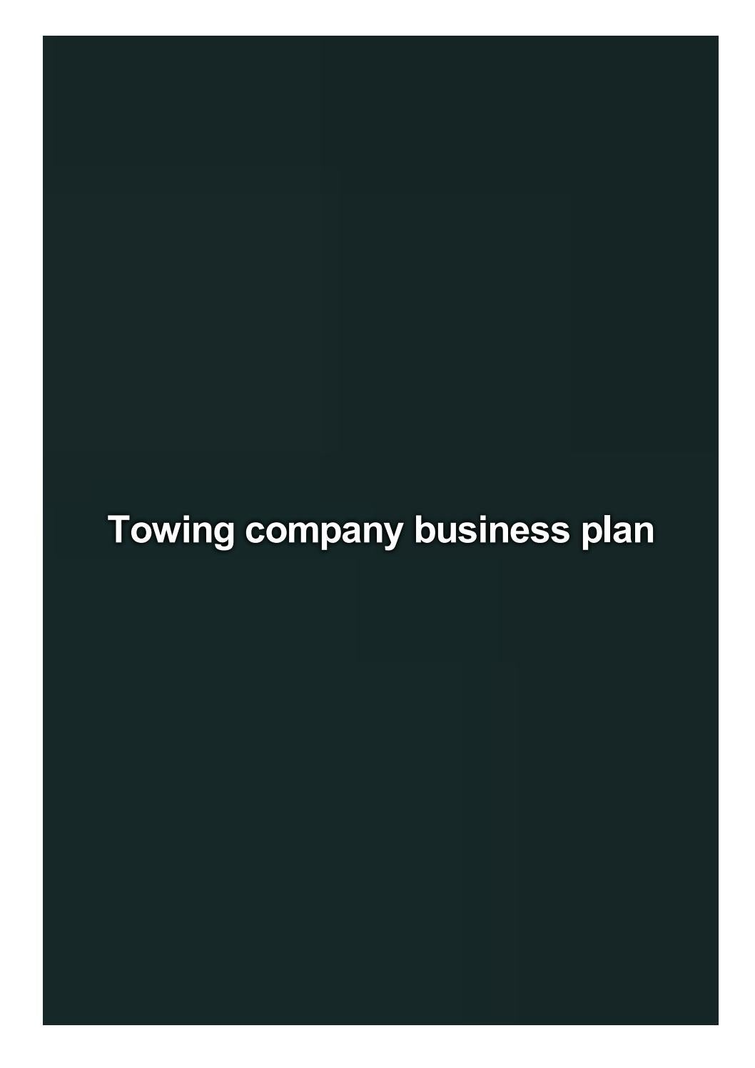 Free business plan for towing company quantitative thesis chapter 3