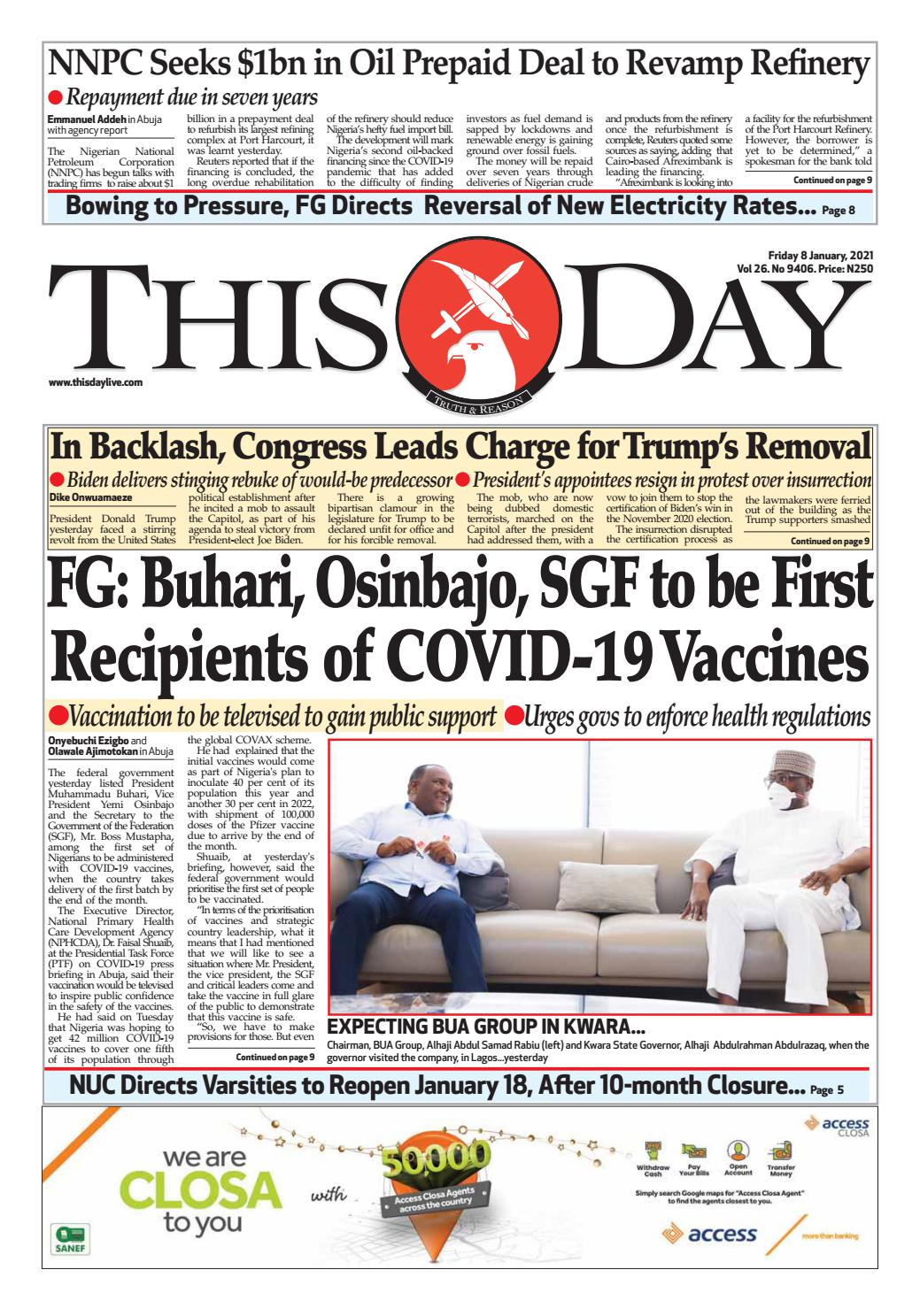 Friday 8th January 2021 By Thisday Newspapers Ltd Issuu