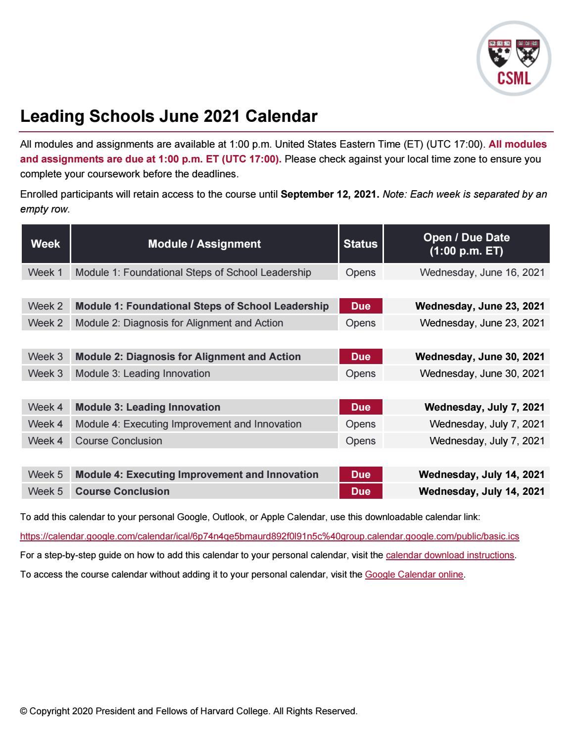 Utc 2021 Calendar Certificate in School Management and Leadership: Leading Schools