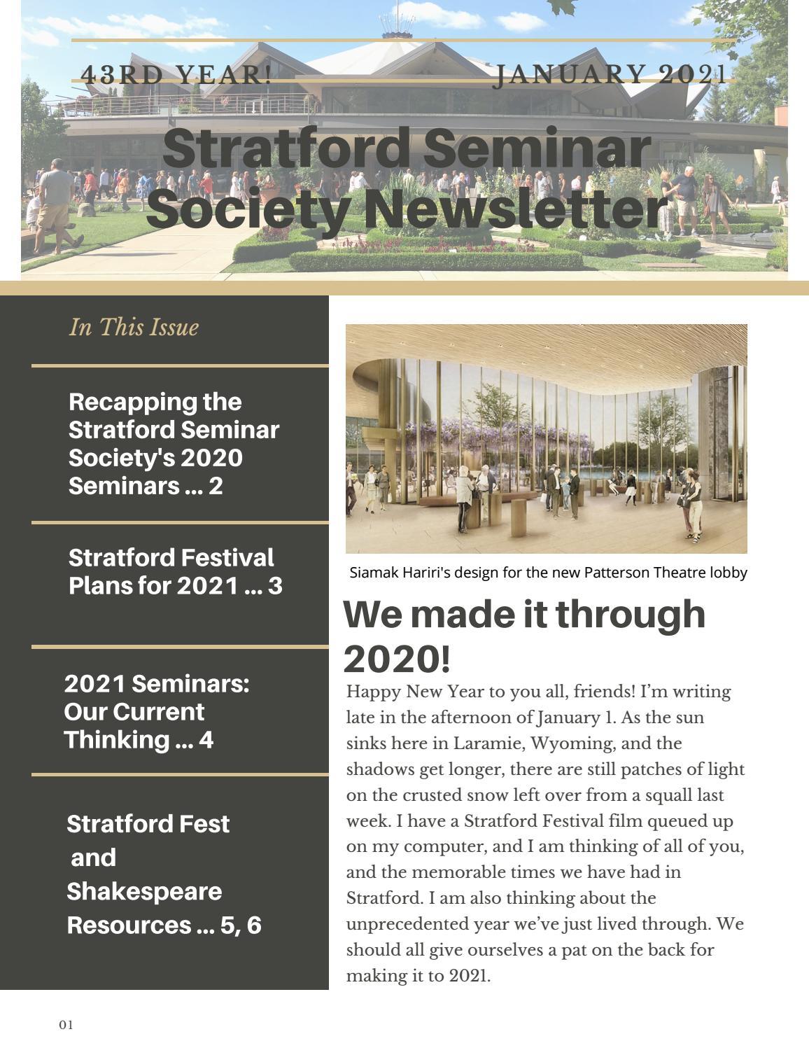 Stratford Festival 2022 Calendar.Stratford Seminar Society Newsletter January 2021 Edition By Uwyo8 Issuu
