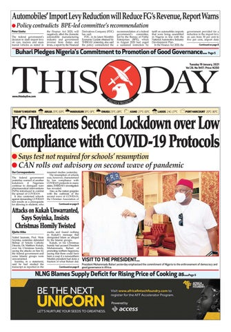 Tuesday 19th January 2021 By Thisday Newspapers Ltd Issuu
