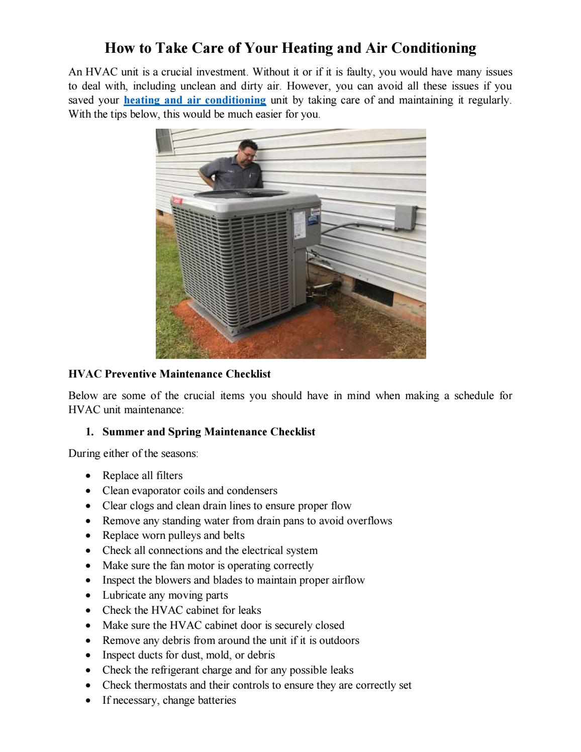 Take Care of Your Heating and Air Conditioning