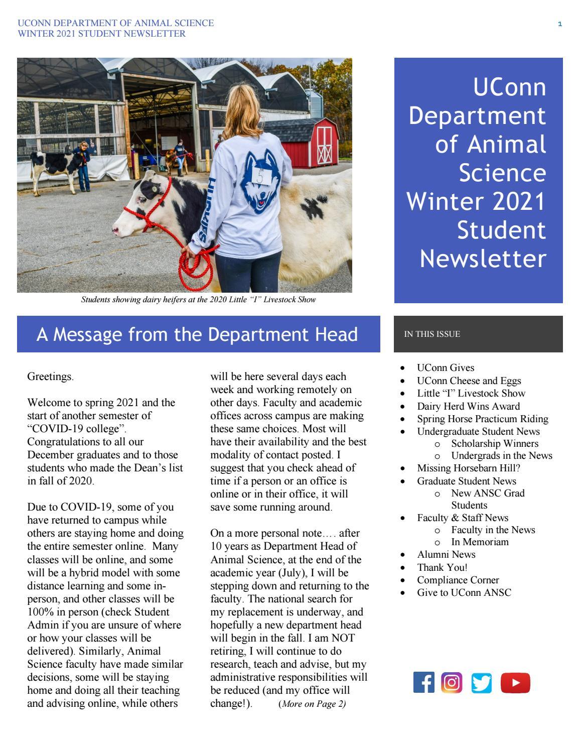 Uconn Spring 2022 Calendar.Winter 2021 Uconn Animal Science Newsletter By Uconn Department Of Animal Science Issuu