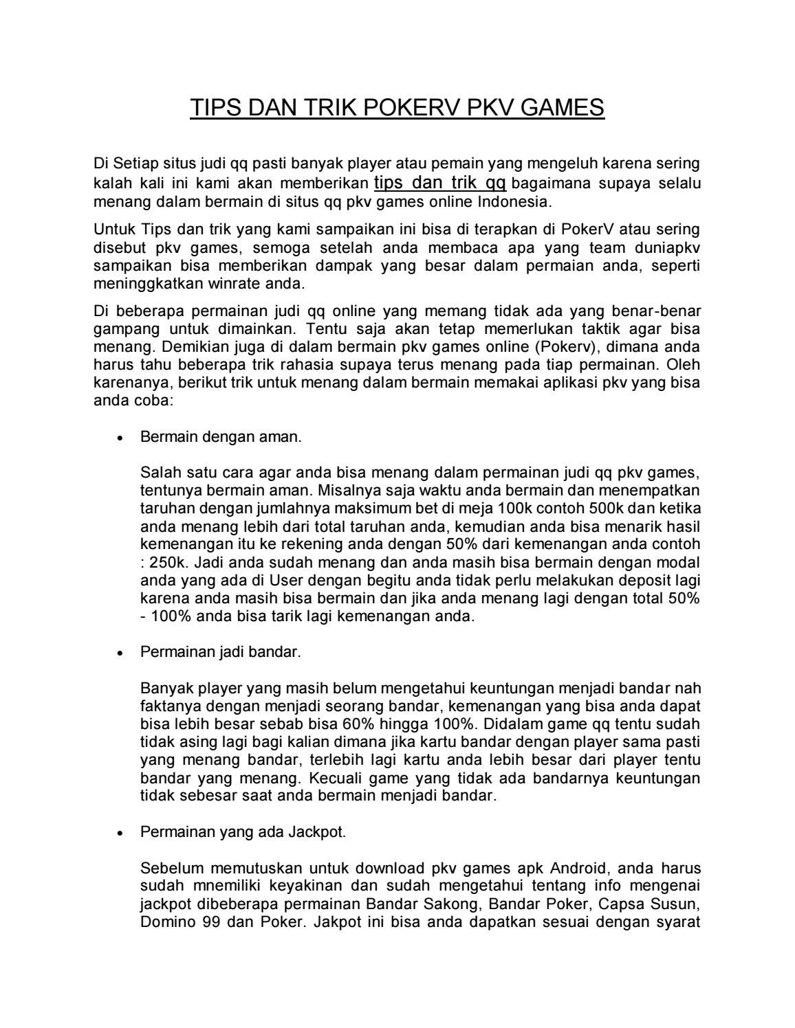 Tips Dan Trik Bermain Pkv Games By Debby Anggun Issuu