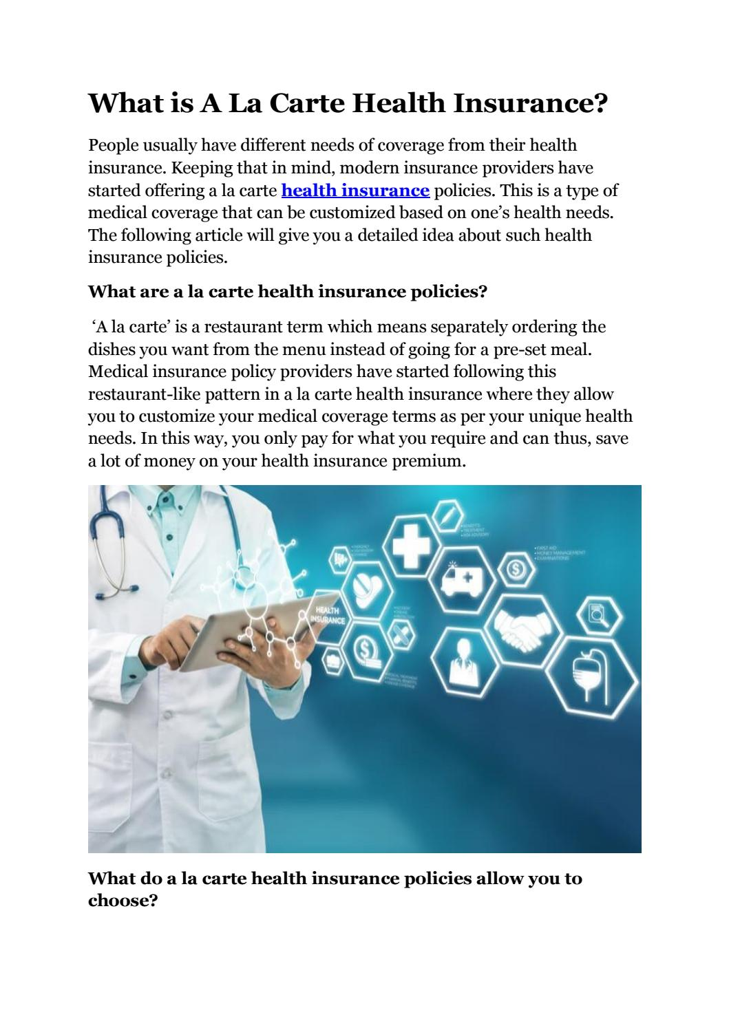 What is A La Carte Health Insurance?
