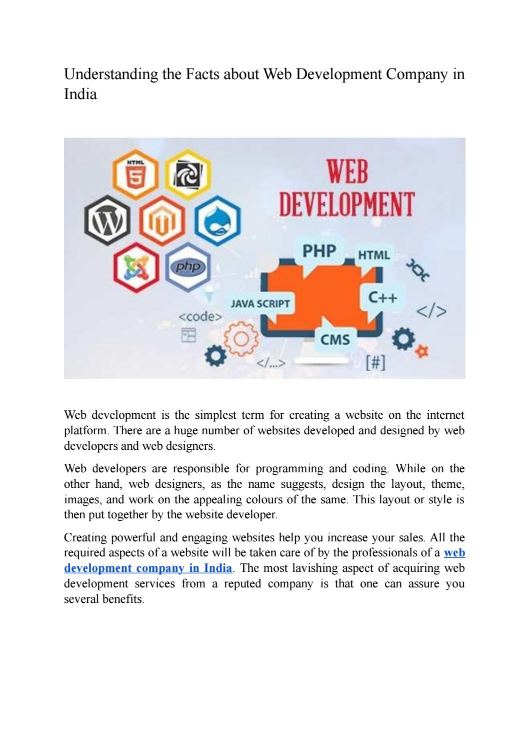 Understanding the Facts about Web Development Company in India