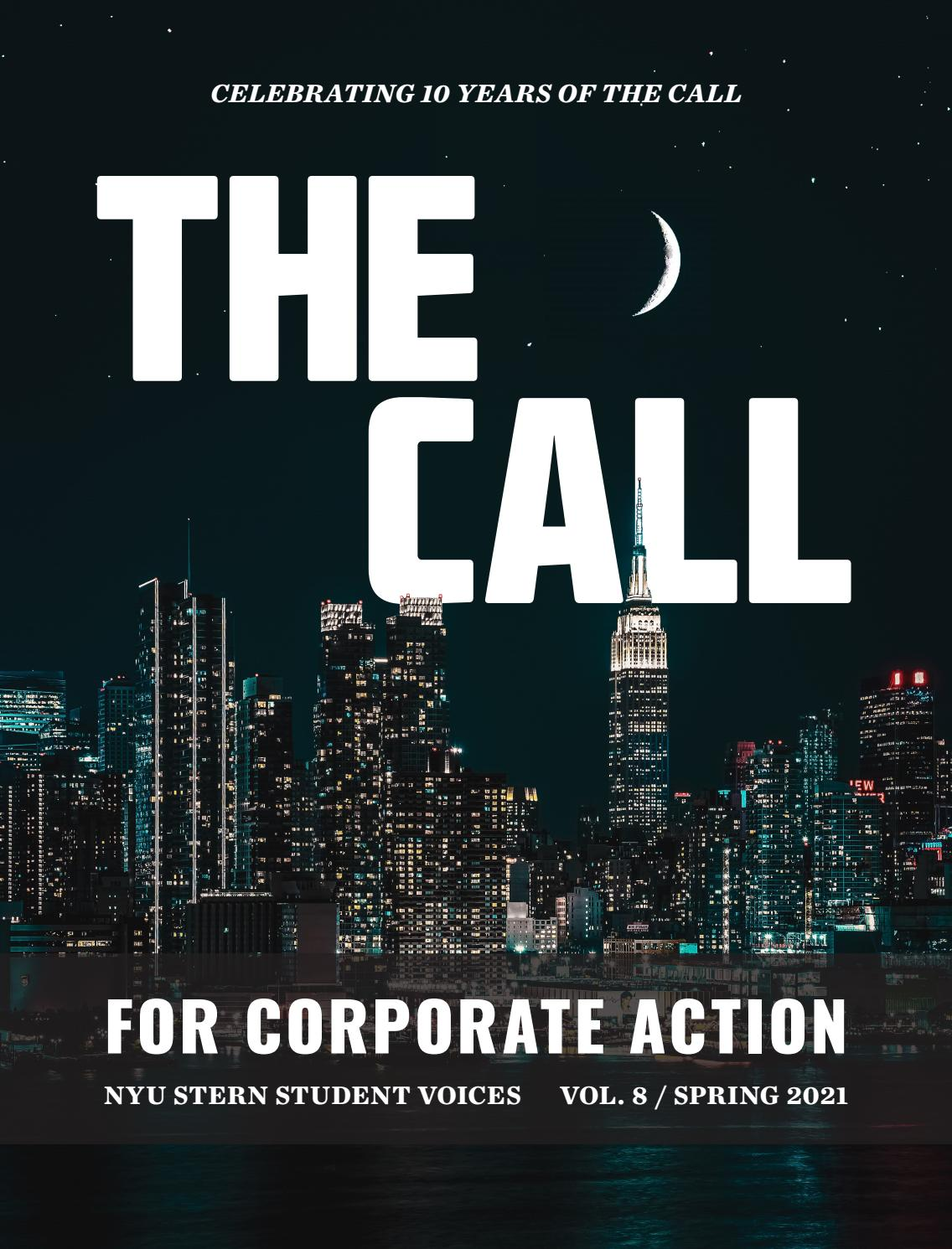 Nyu Spring 2022 Calendar.The Call For Corporate Action Nyu Stern Student Voices Vol 8 Spring 2021 By Nyu Stern School Of Business Issuu