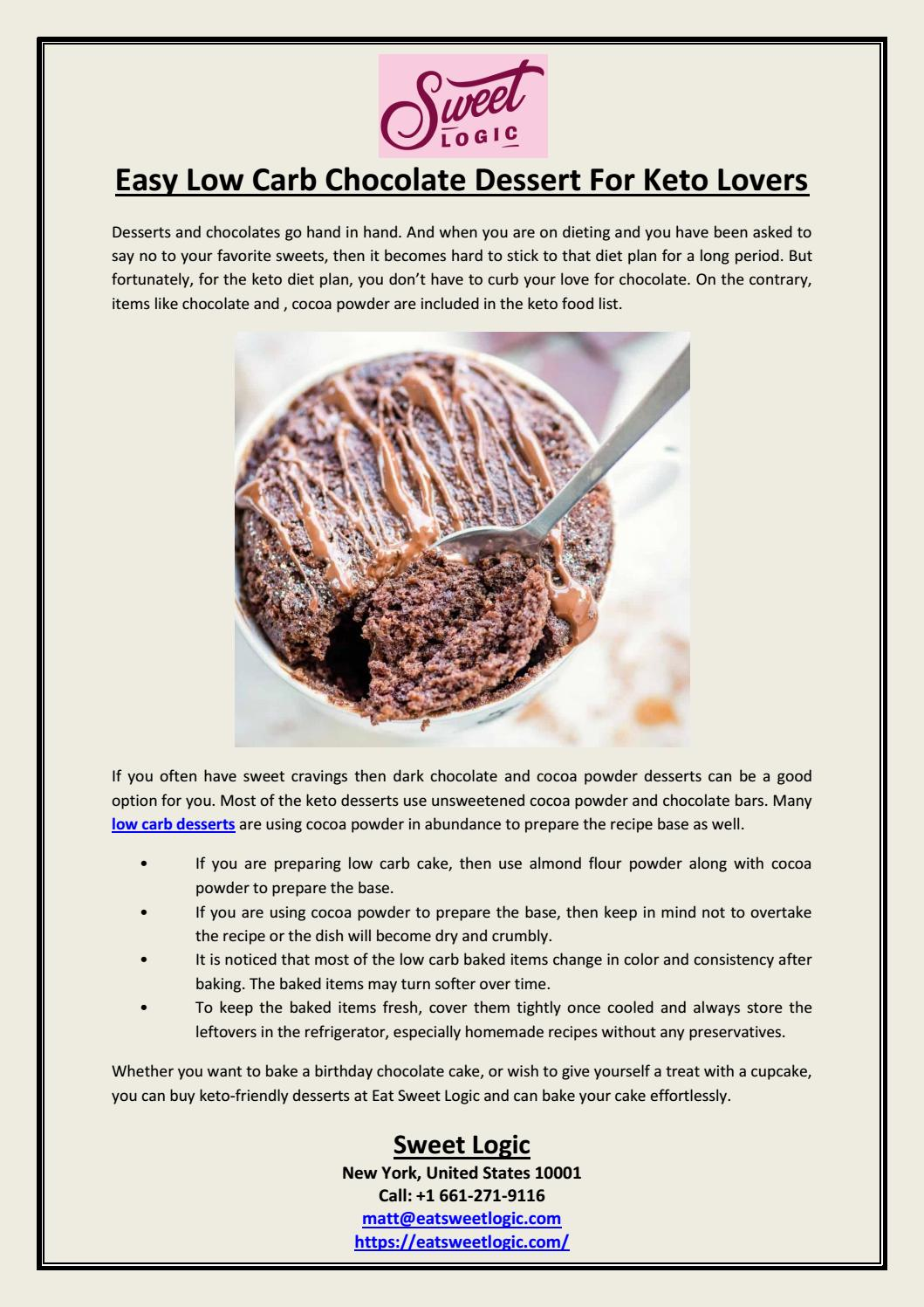 Easy Low Carb Chocolate Dessert For Keto Lovers By Sweet Logic Issuu
