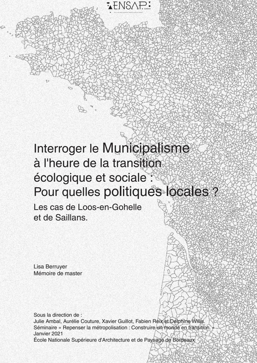 Interroger le Municipalisme à l'heure de la transition écologique ...