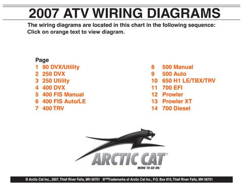 2007 Arctic Cat ATV Wiring Diagrams Manual - PDF DOWNLOAD by heydownloads -  issuu | Wiring Schematic 2007 Arctic Cat 700 |  | Issuu