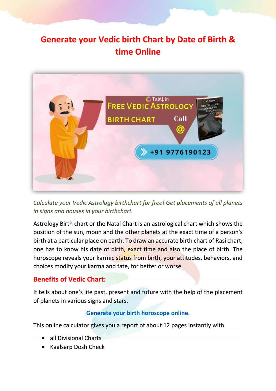Generate your Vedic birth Chart by Date of Birth & time Online by ...