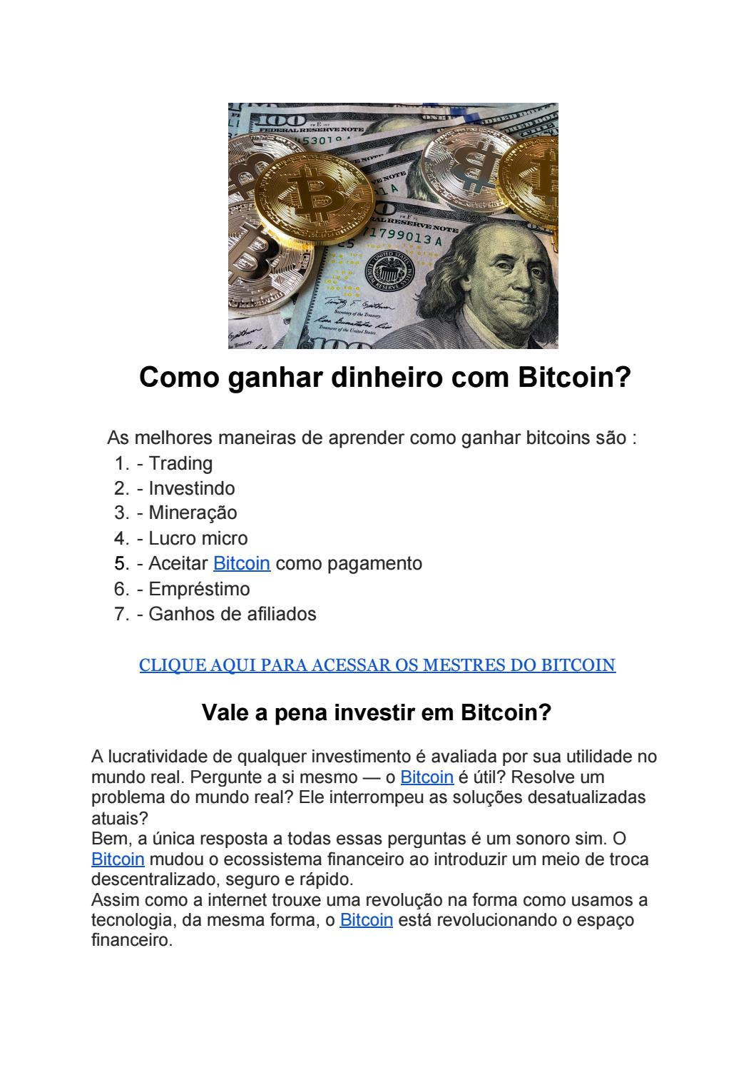 como ganhar dinheiro com trade de bitcoin)