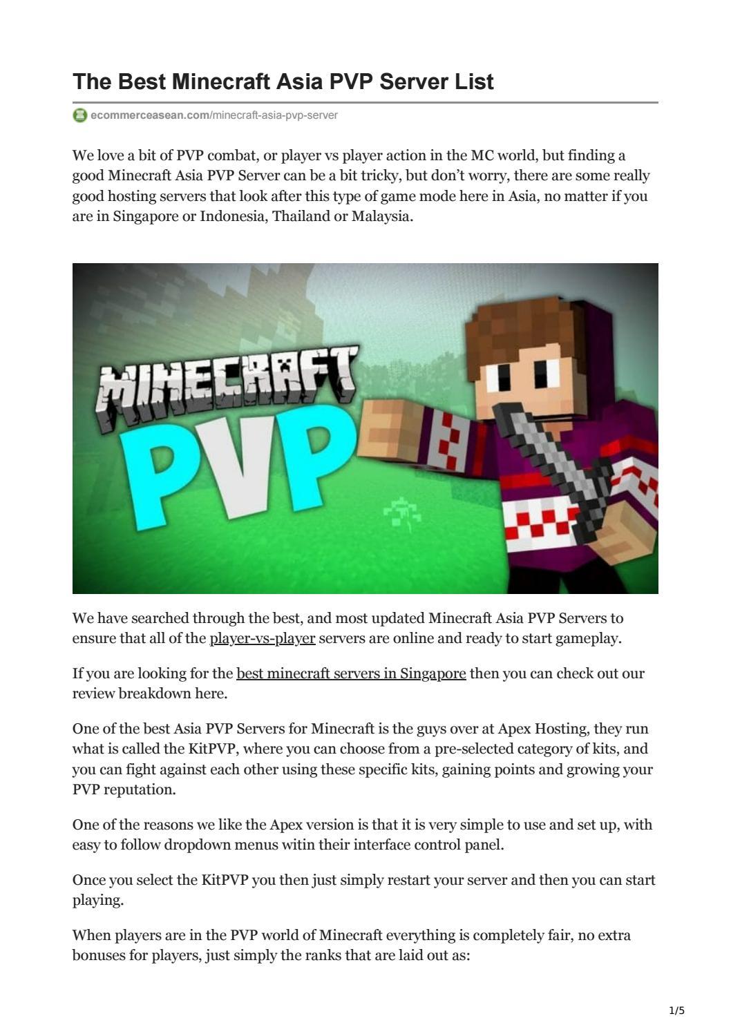 Best Minecraft Asia PVP Server List 2021 by eASEAN issuu