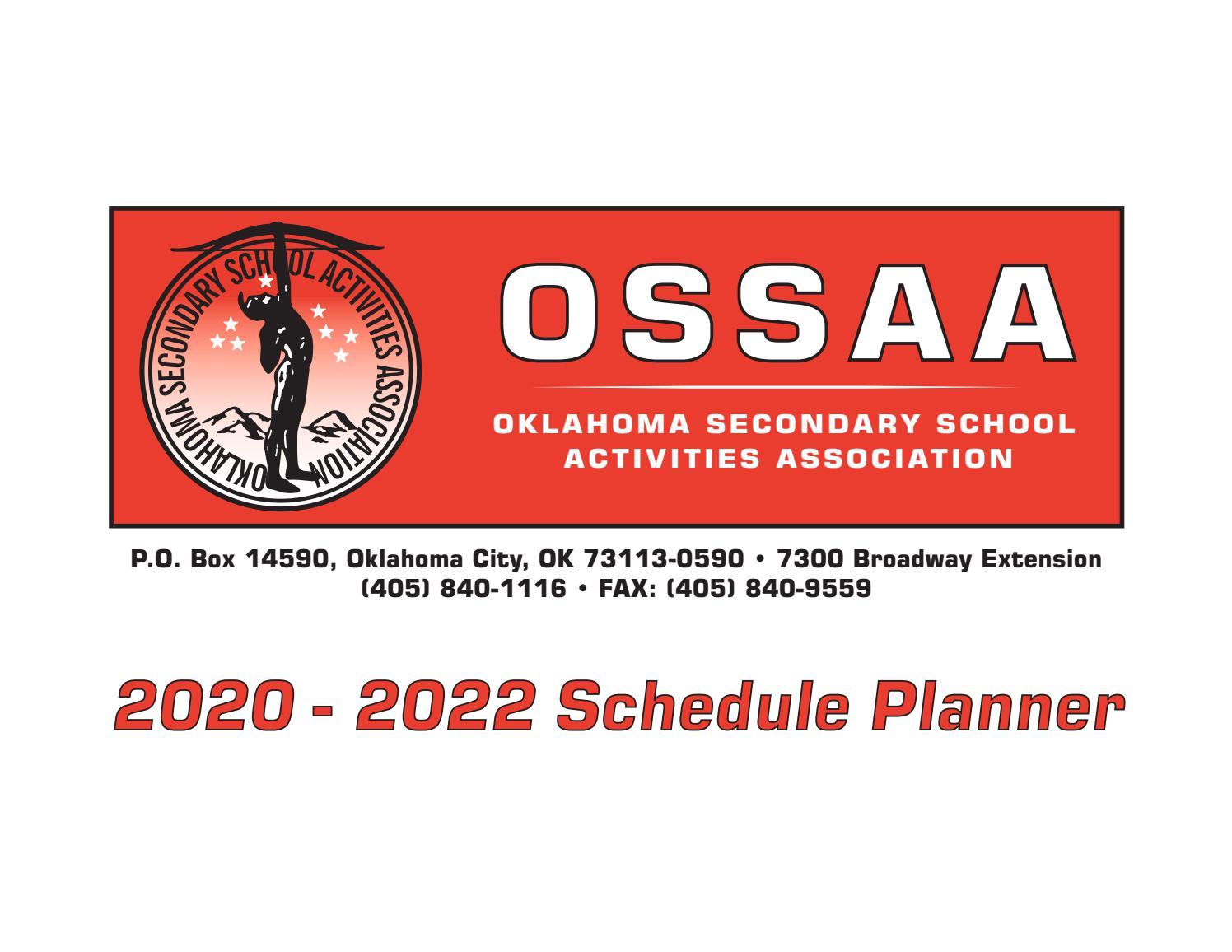 Boone County Schools Calendar 2022 2023.Ossaa 2 Year Schedule Planner 2020 2022 By Ossaa Media Issuu
