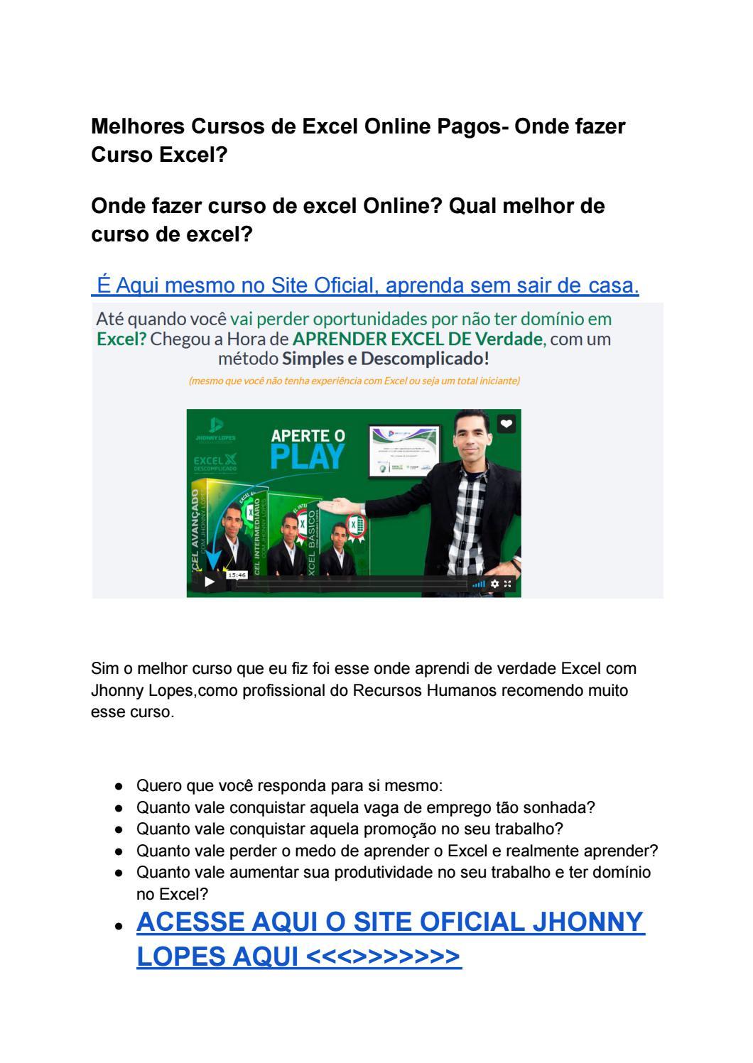 Melhores Cursos De Excel Online Pagos Onde Fazer Curso Excel By Dr Saude Issuu