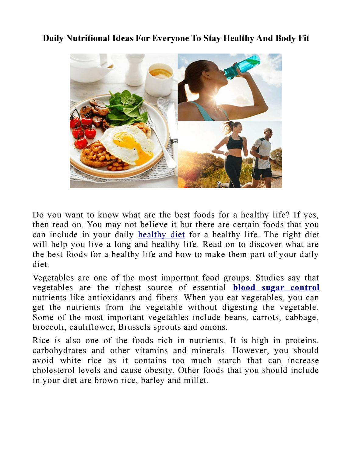Daily Nutritional Ideas For Everyone To Stay Healthy And Body Fit