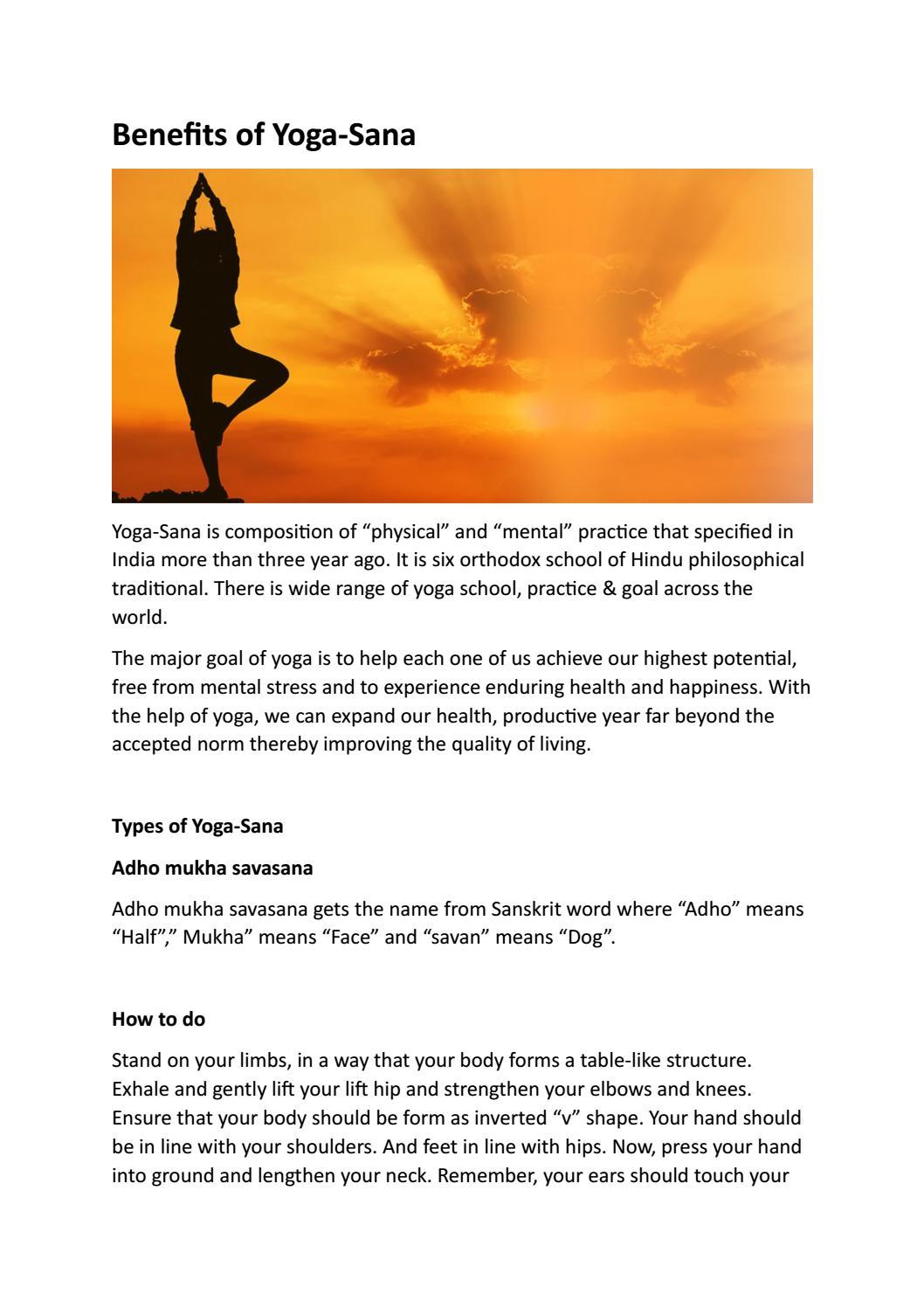 Benefits of Yoga Sana by Ashwini Dole   issuu