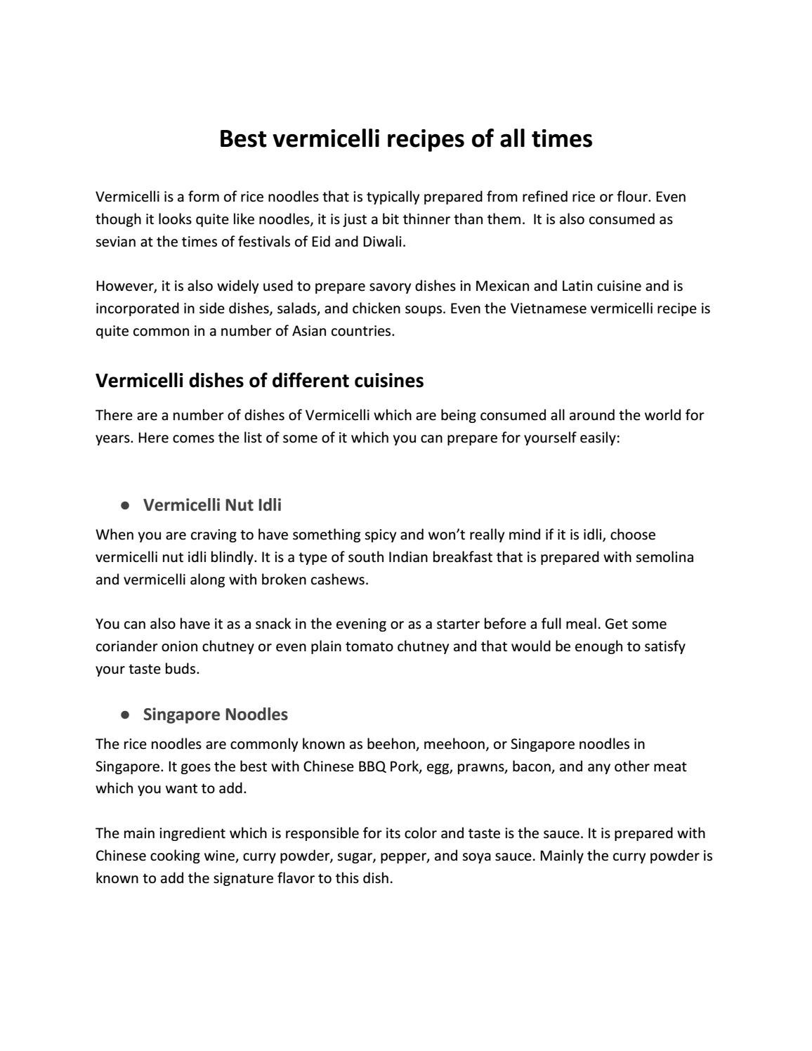Best vermicelli recipes of all times