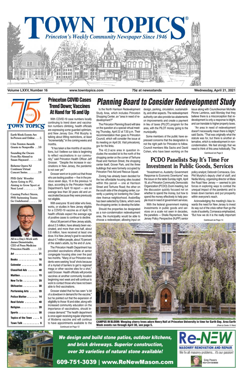 Rutgers Academic Calendar 2022 23 New Brunswick.Town Topics Newspaper April 21 2021 By Witherspoon Media Group Issuu