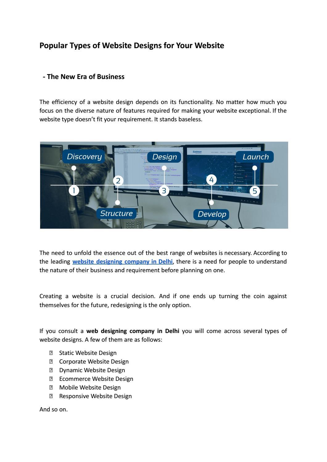 Popular Types of Website Designs for Your Website