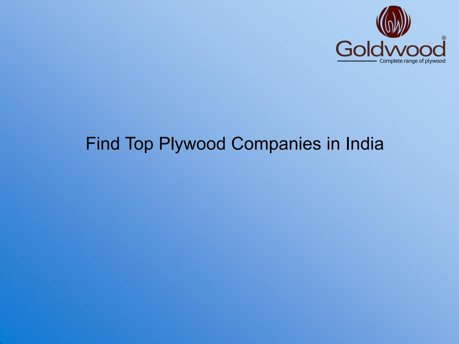 Find Top Plywood Companies in India
