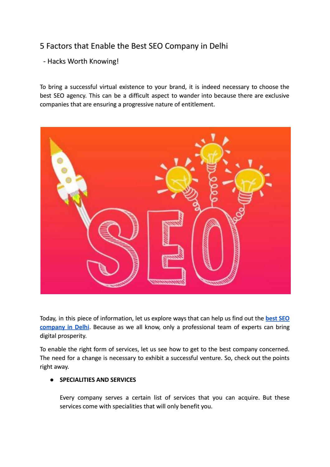 5 Factors that Enable the Best SEO Company in Delhi