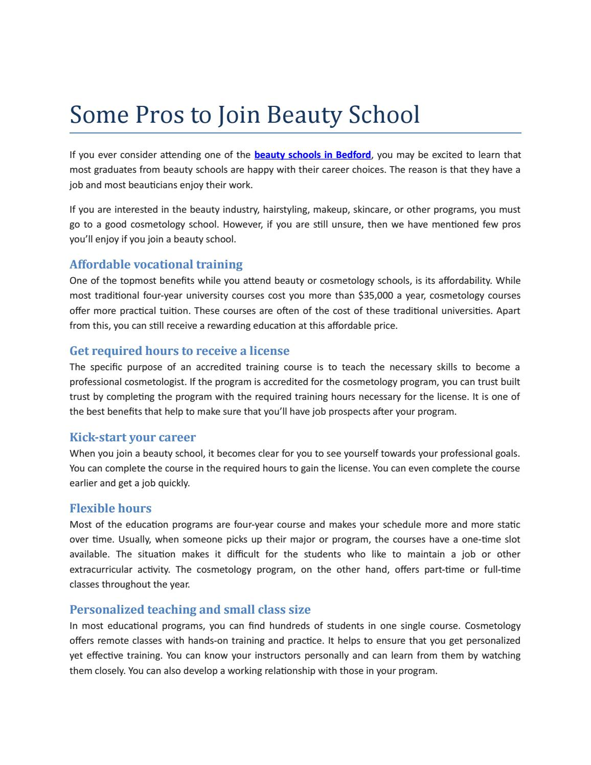 Some Pros to Join Beauty School
