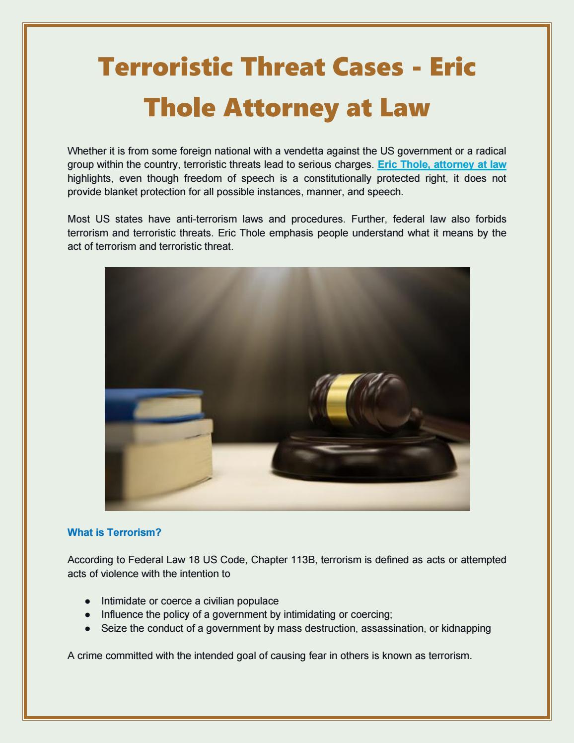 Terroristic Threat Cases - Eric Thole Attorney at Law