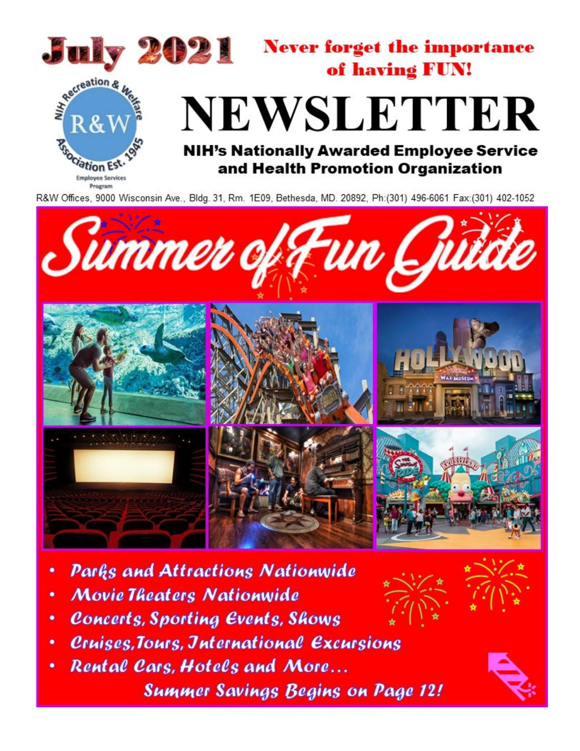 July 20 R&W Newsletter & Summer of Fun Guide by NIH R&W   issuu