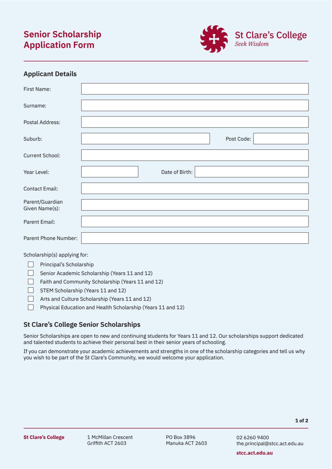 Senior Scholarship Application Form