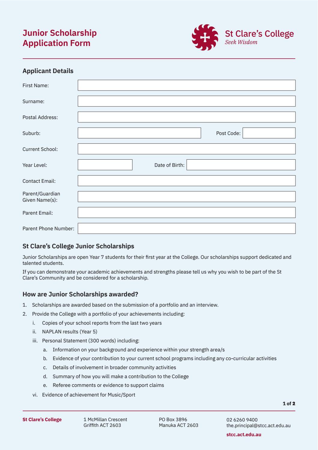 Junior Scholarship Application Form