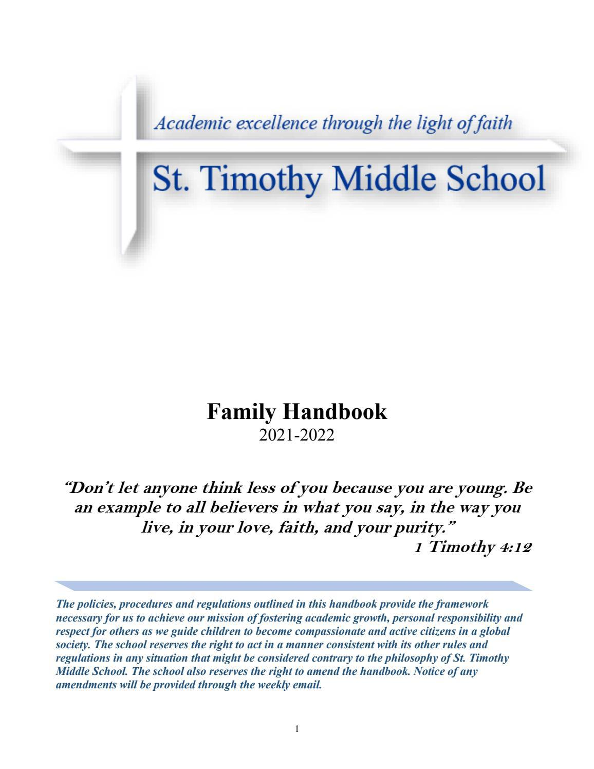 St. Timothy Middle School Family Handbook, 2021-22 by Saint ...