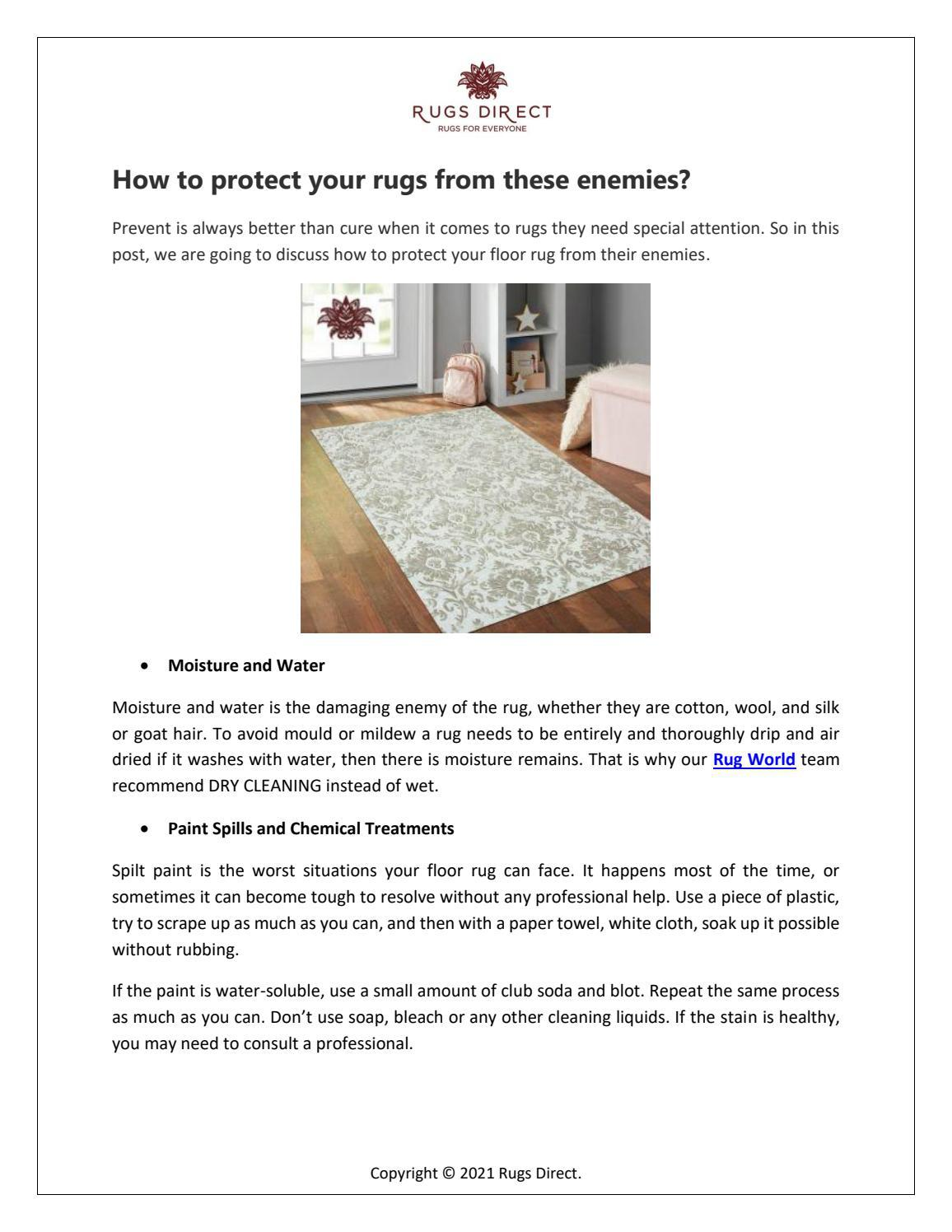 How to protect your rugs from these enemies?