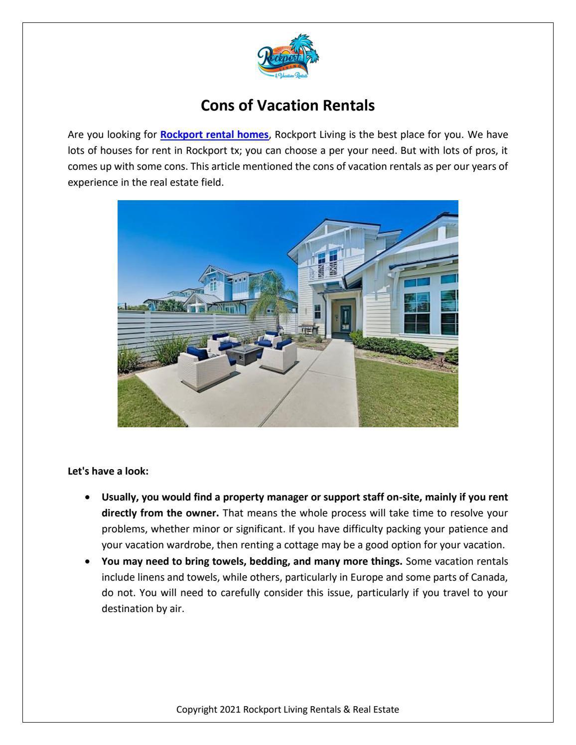 Cons of Vacation Rentals