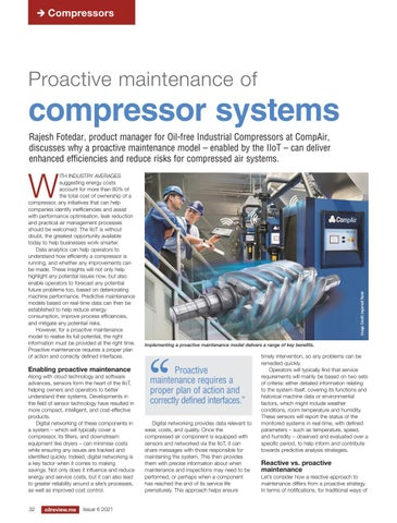 Proactive maintenance of compressor systems
