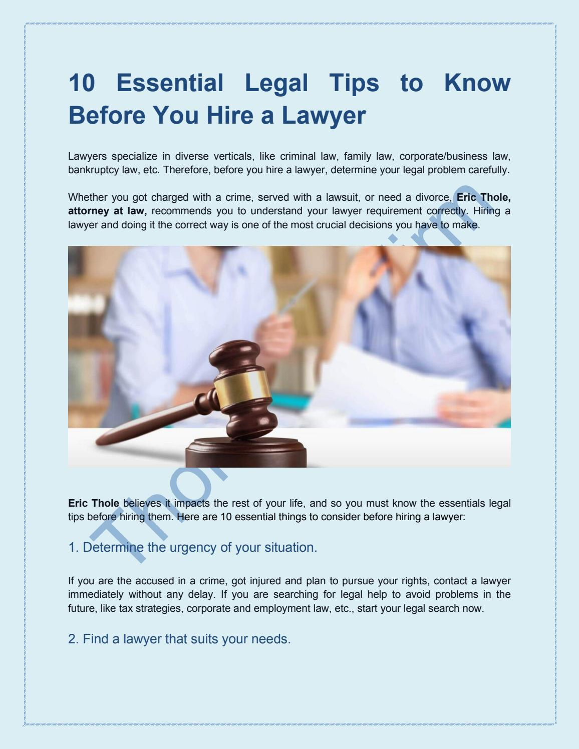 10 Essential Legal Tips to Know Before You Hire a Lawyer