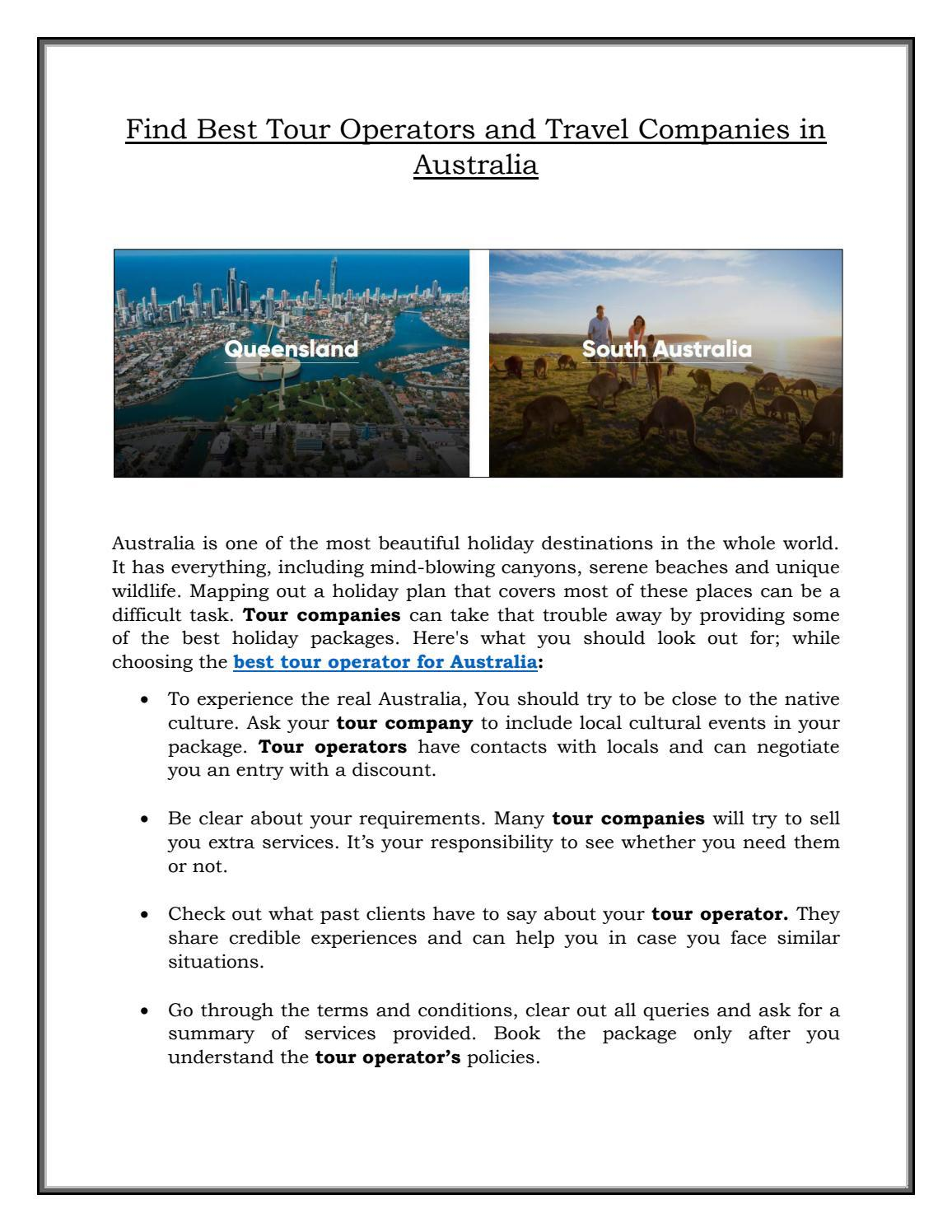 Find Best Tour Operators and Travel Companies in Australia
