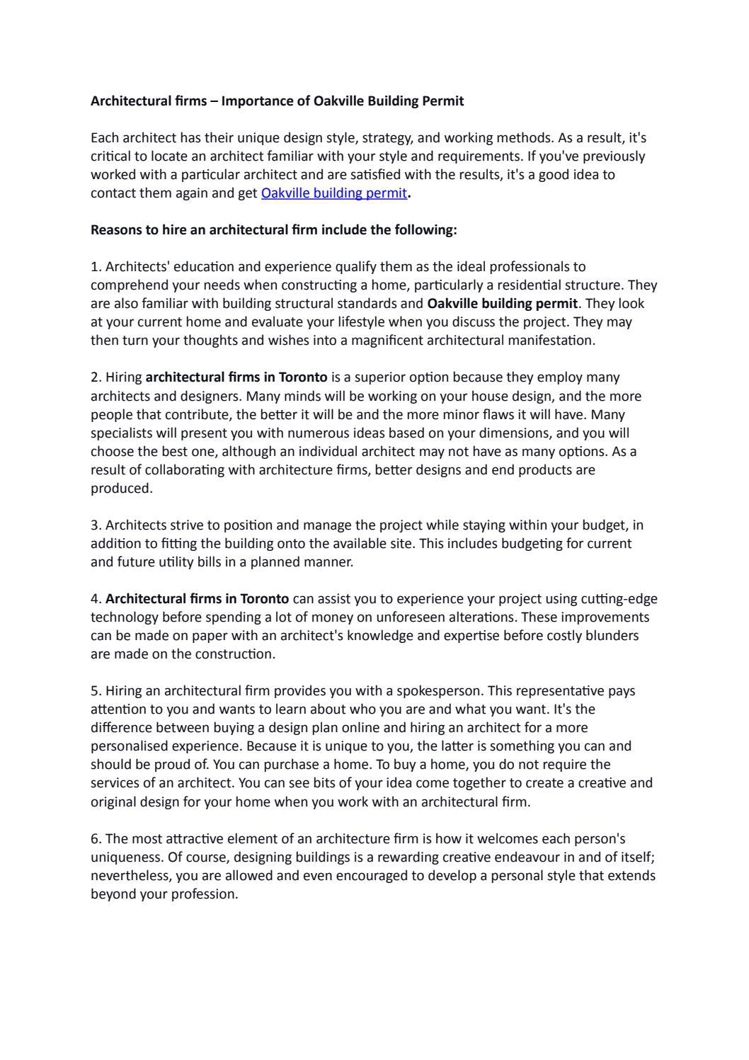 Architectural firms – Importance of Oakville Building Permit
