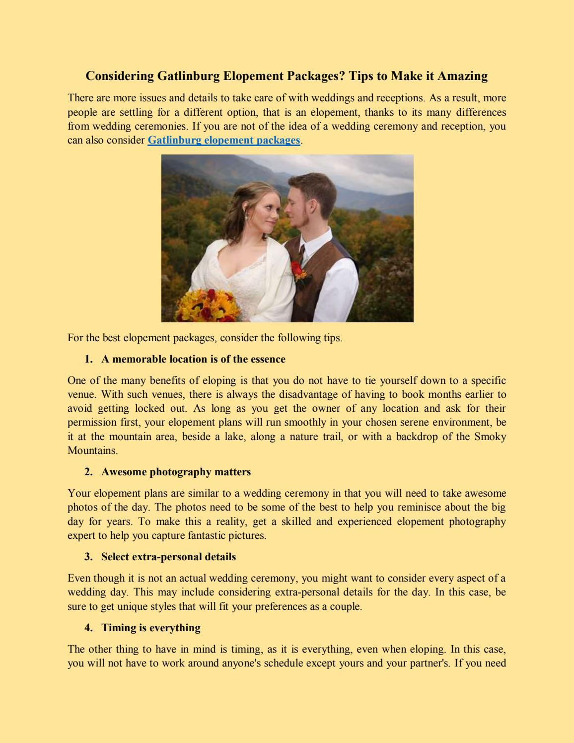 Considering Gatlinburg Elopement Packages? Tips to Make it Amazing